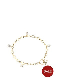 love-gold-9-carat-rolled-gold-over-sterling-silver-cubic-zirconia-heart-drop-t-bar-bracelet-with-free-earrings