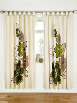 Candice Lined Tab Top Curtains  Green