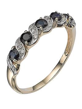 Love Gem 9 Carat Yellow Gold Sapphire And Diamond Eternity Ring