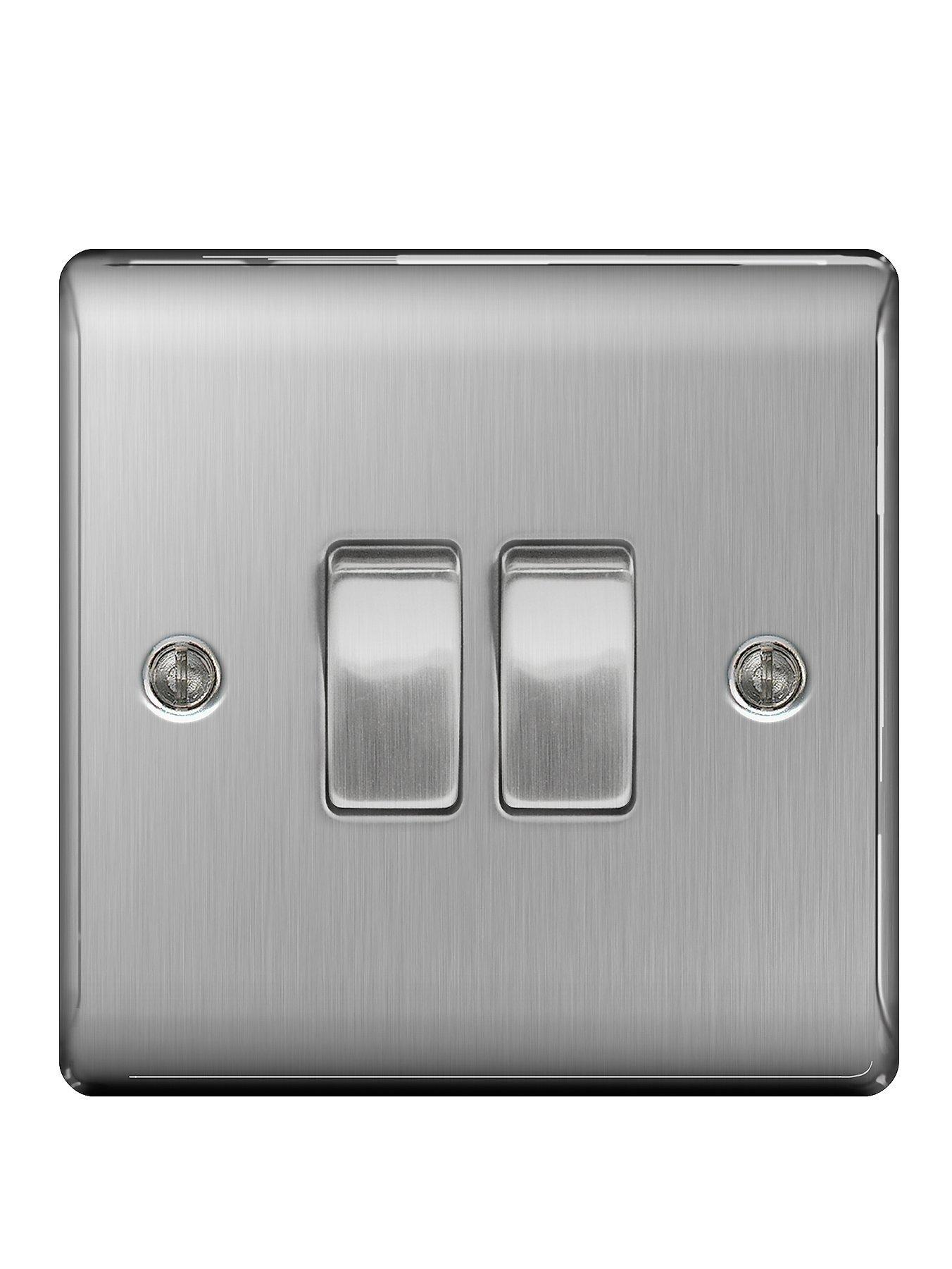 Compare prices for British General Brushed Steel 2G Plate Switch