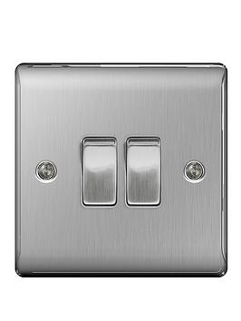 British General   Brushed Steel 2G Plate Switch