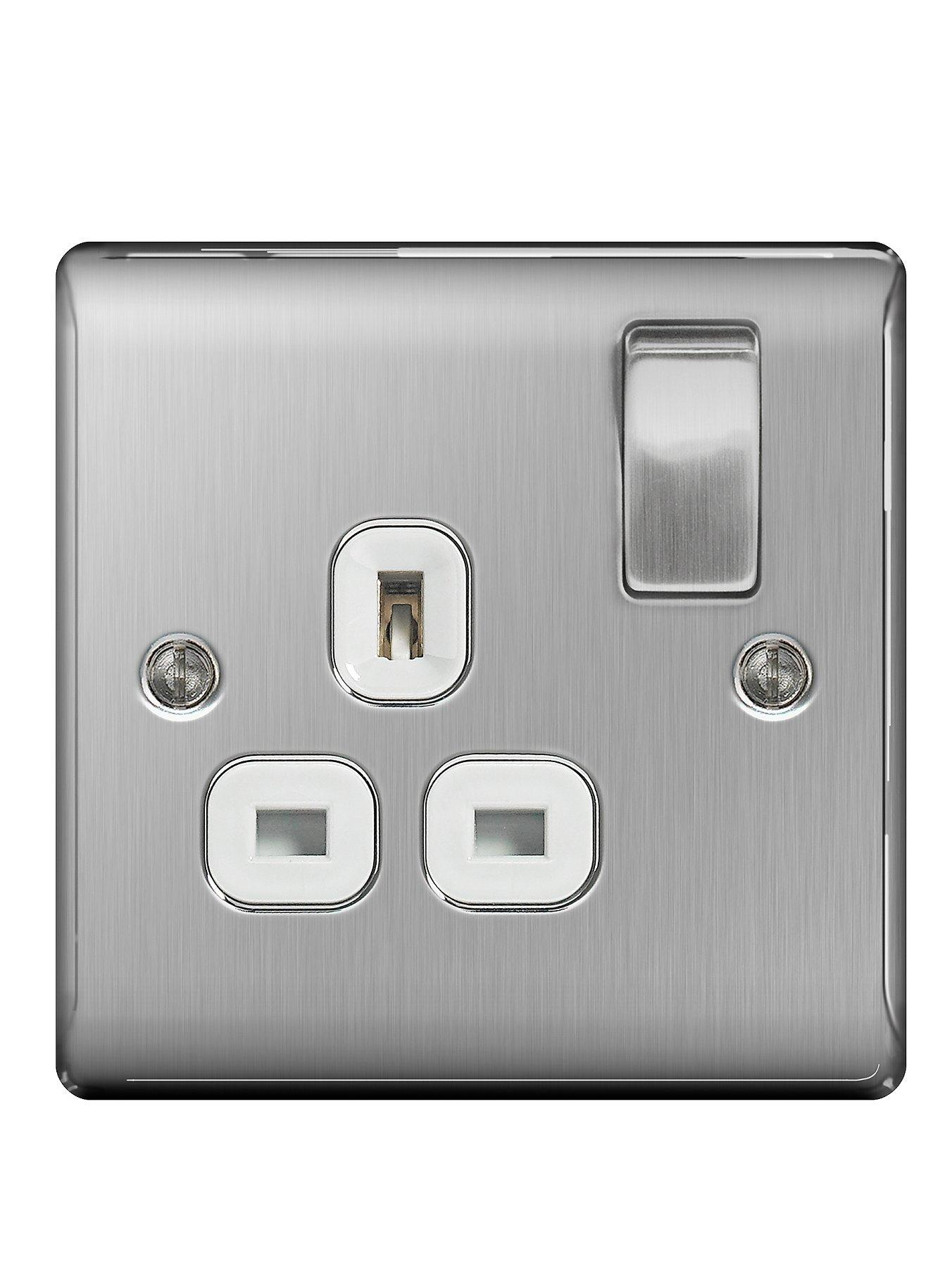 Compare cheap offers & prices of British General Brushed Steel 13A 1G Double Switched Socket White Surround manufactured by British General
