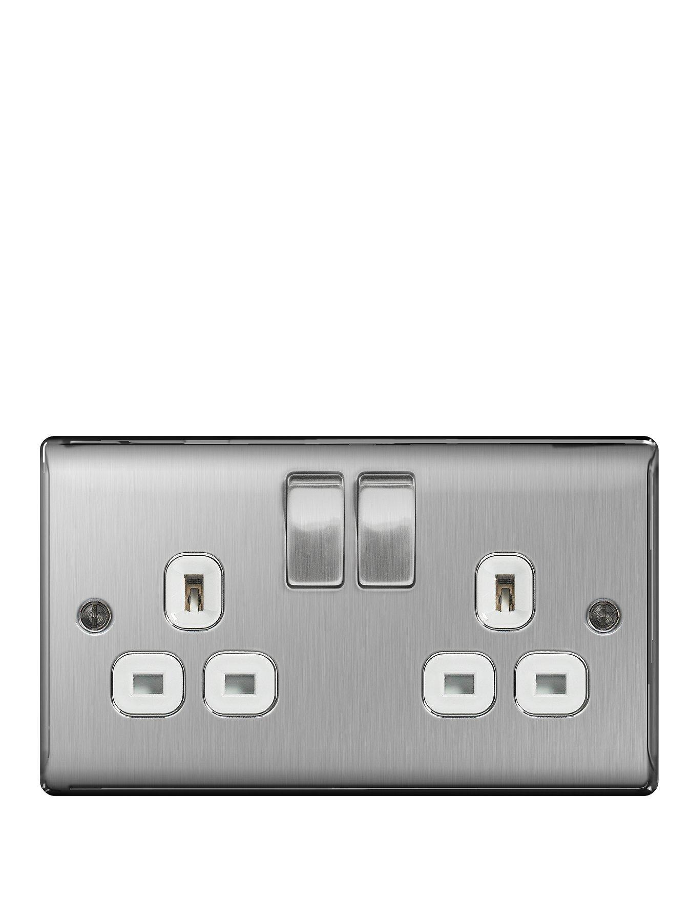 Compare cheap offers & prices of British General Brushed Steel 13A 2G Double Switched Socket manufactured by British General