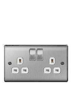 british-general-brushed-steel-13a-2g-double-switched-socket