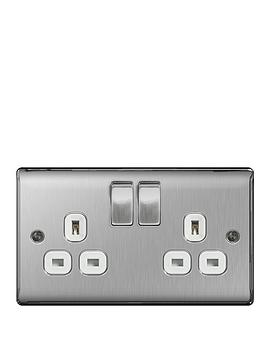 British General   Brushed Steel 13A 2G Double Switched Socket