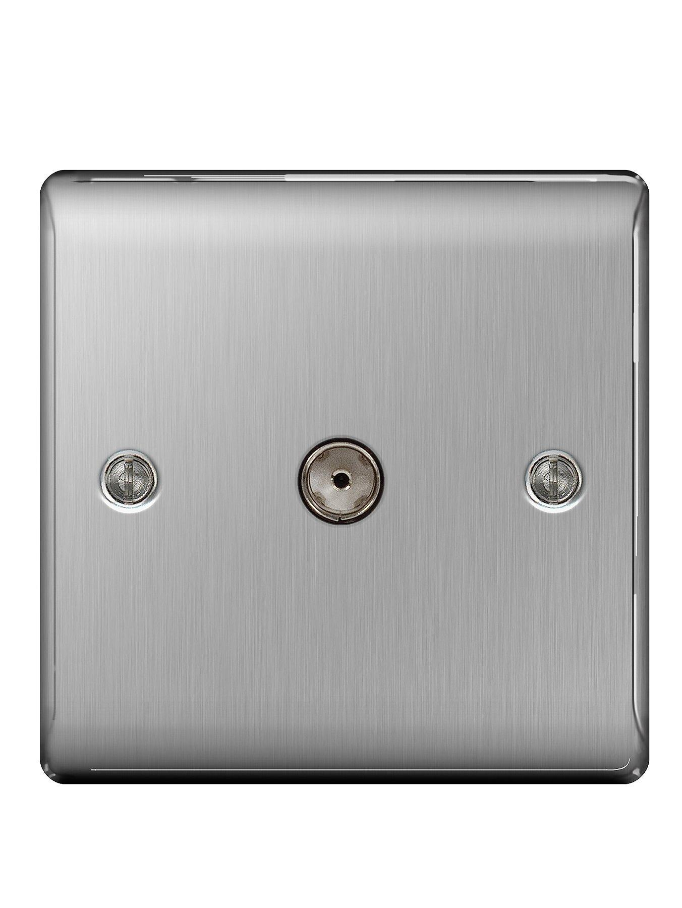 Compare cheap offers & prices of British General Brushed Steel 1 Gang Co-Axial Socket manufactured by British General