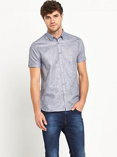 ted-baker-ted-baker-short-sleeve-semi-plain-linen-shirt