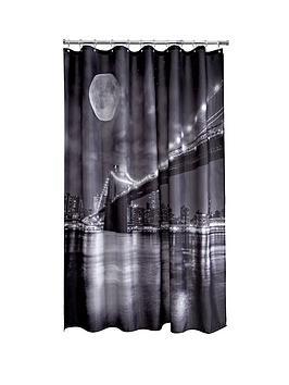 AQUALONA  Aqualona Brooklyn Bridge Shower Curtain - Black/White