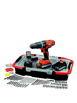 Black & Decker Egbl188BastGb 18Volt Lithium Ion Combi Hammer Drill With 2 Batteries 165 Accessories And Kitbox