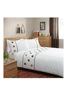 Applique Circles Duvet Cover Set With Free Fitted Sheet  King Size Set