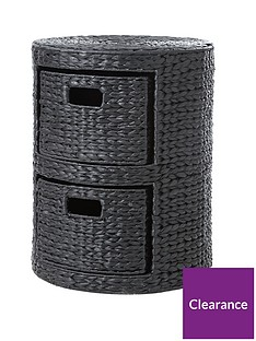 2-drawer-arrow-weave-wicker-storage-chest-black
