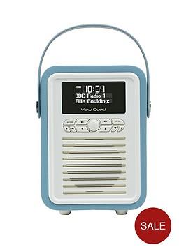 view-quest-retro-mini-radio-alarm-clock-blue