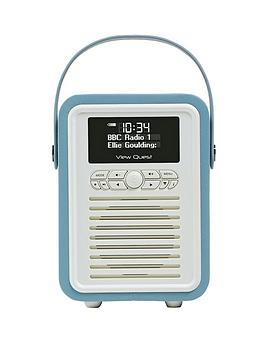 View Quest Retro Mini Radio Alarm Clock  Blue