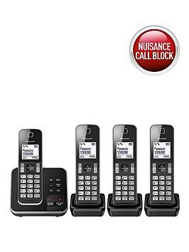Panasonic KxTgd324Eb Cordless Telephone With Answering Machine And Nuisance Call Block  Quad Pack  Black