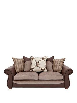 Very Arran Fabric And Faux Hide 3 Seater Scatter Back Sofa Picture