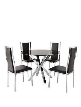 chopstick-100cm-round-glass-dining-table-4-atlantic-chairs-black