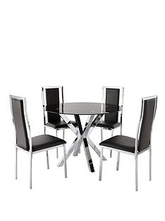 chopstick-glass-and-chrome-100-cm-dining-table-4-atlantic-chairs-black