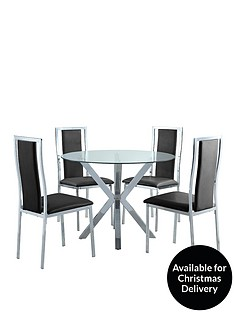 Chopstick 100 Cm Round Glass Dining Table 4 Atlantic Chairs Clear Black