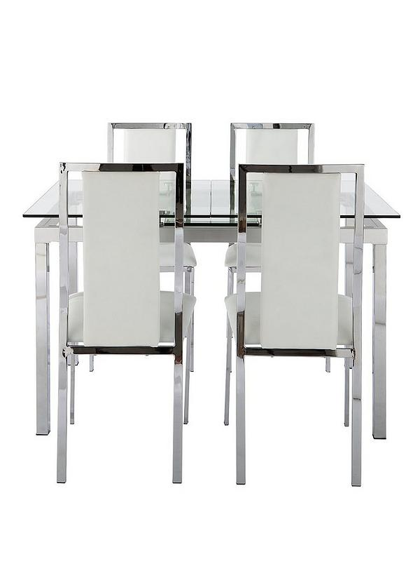 newest collection 8bd2f 90635 Glide 120-150 cm Extending Glass Table plus 4 Atlantic Chairs - Clear