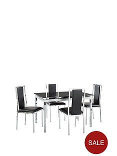 glide-glass-and-chrome-120-150-cm-extending-dining-table-4-atlantic-chairs-black