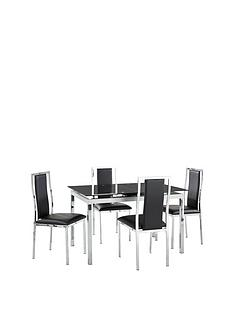 Elmdon Black Circular Dining Table And 4 Black Chairs Elmdon