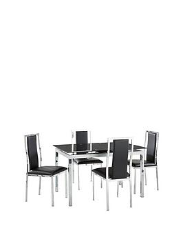 Very Glide Glass And Chrome 120-150 Cm Extending Dining Table + 4 Atlantic  ... Picture