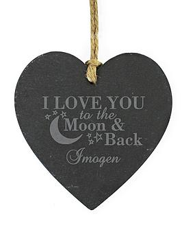 Very Personalised 'To The Moon &Amp; Back' Slate Heart Picture