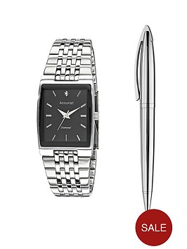accurist-stainless-steel-mens-watch-and-pen-gift-set
