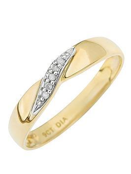 Love DIAMOND Love Diamond 9-Carat Yellow Gold Twist Diamond Set Wedding  ... Picture