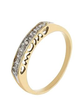 Love GOLD Love Gold 9 Carat Yellow Gold Diamond Set Mum Heart Ring Picture