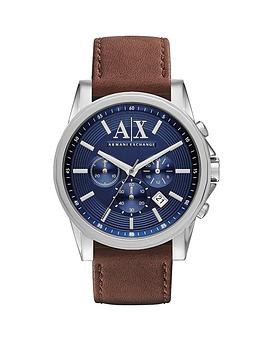 Armani Exchange Chronograph Blue Dial And Brown Leather Strap Mens Watch