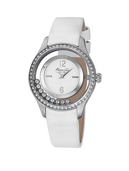 kenneth-cole-stone-encrusted-bezel-white-leather-strap-ladies-watch
