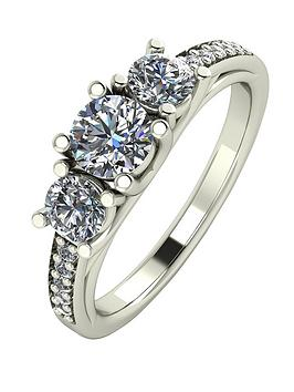 Moissanite 9Ct White Gold 1.10Ct Trilogy Ring With Moissanite Set Shoulders