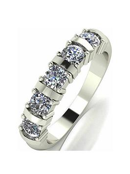 Moissanite Moissanite 9 Carat White Gold, 1 Carat Moissanite Bar Set 5  ... Picture