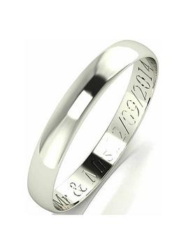 Love GOLD Love Gold Personalised 9 Carat White Gold D-Shaped Wedding Band  ... Picture