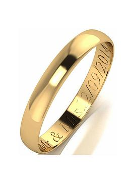 Love GOLD Love Gold Personalised 9 Carat Yellow Gold D-Shaped Wedding Band  ... Picture