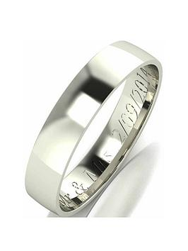 Love GOLD Love Gold Personalised 9 Carat White Gold Court Wedding Band 4Mm Picture