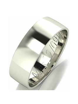 Love GOLD Love Gold Personalised 9 Carat White Gold Court Wedding Band 6 Mm Picture