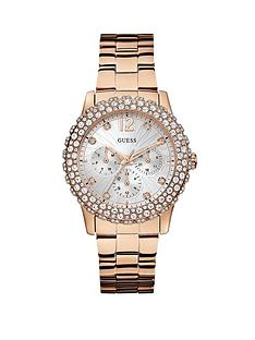 guess-dazzler-crystal-and-multi-function-dial-rose-gold-tone-ladies-watch