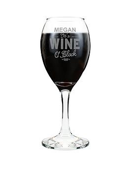 Personalised Wine O'Clock Wine Glass