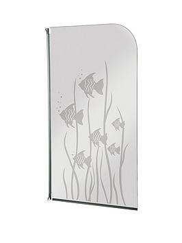 Aqualux Half Framed Radius Fish Design Bath Screen