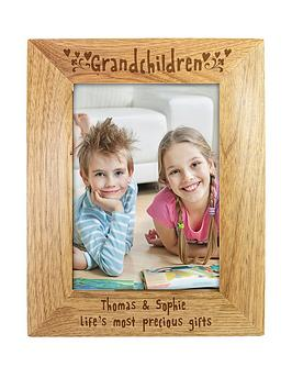 Very Personalised Grandchildren Wooden Photo Frame Picture