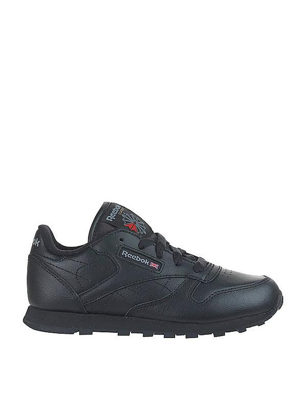acoso logo En general  Reebok Classic Leather Junior Trainers - Black | littlewoods.com
