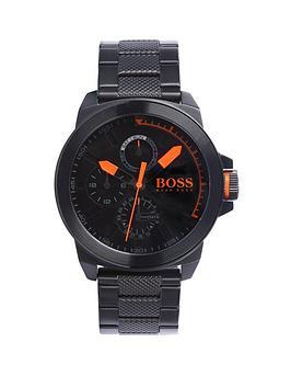 Hugo Boss Classic Round Multi Eye Black Dial Orange Markers Black Bracelet Mens Watch