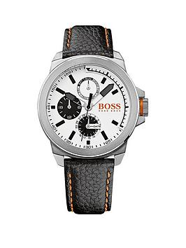 Hugo Boss Classic Round Multieye White Dial Stainless Steel Leather Strap Mens Watch