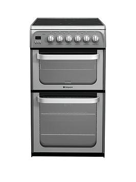 Hotpoint Ultima Hue52Gs 50Cm Double Oven Electric Cooker With Ceramic Hob  Graphite