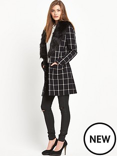 south-check-lightweight-fauxampnbspfur-collar-coatampnbsp