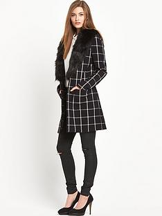 south-check-lightweight-fauxnbspfur-collar-coat