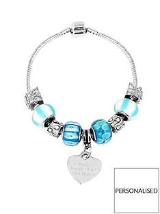 personalised-silver-tone-sea-blue-charm-bracelet
