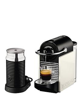 Nespresso Pixie Clips and Aeroccino 3 Coffee Machine by Magimix  White and Neon Coral
